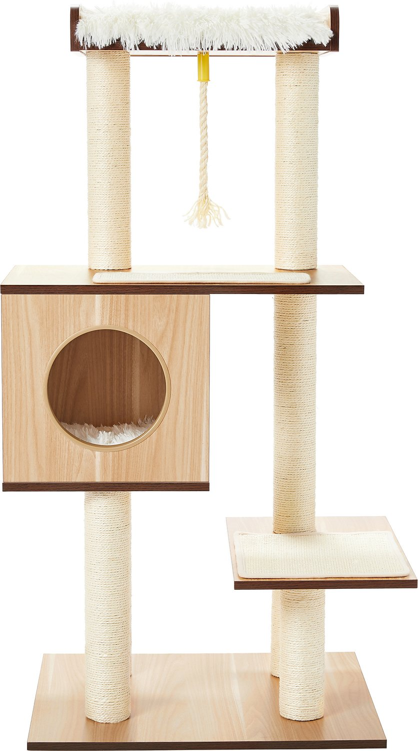 Frisco 47 5 In Modern Cat Tree Condo Natural Chewy Com In 2020 Modern Cat Tree Cat Tree Condo Modern Cat