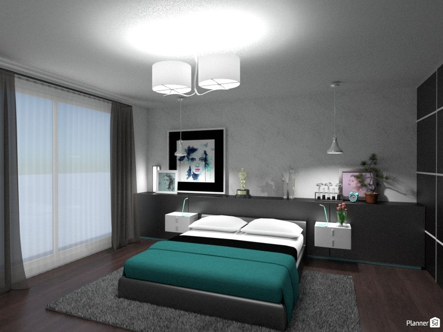 Bedroom Interior Design Black White And Green Color Interior Planner 5d Interior Design Tools Bedroom Interior Interior Design Bedroom design online 3d
