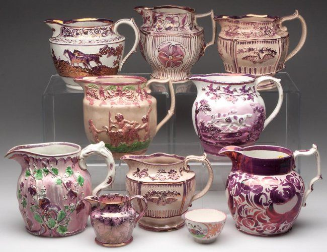English Staffordshire Pink Lusterware Pitchers And Two Apr 24 2013 Jeffrey S Evans Associates In Va Antiques Vintage Crockery Collectible China