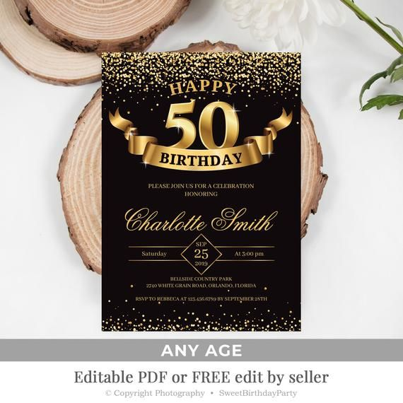 Printable 50th Birthday Invitation Gold And Black Invite Template 100 Editable 40th 60th