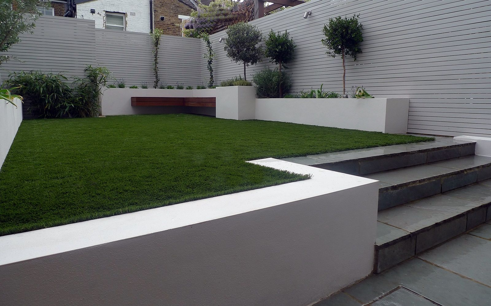 Modern Small Garden Design Artificial Grass Raised Beds 400 x 300