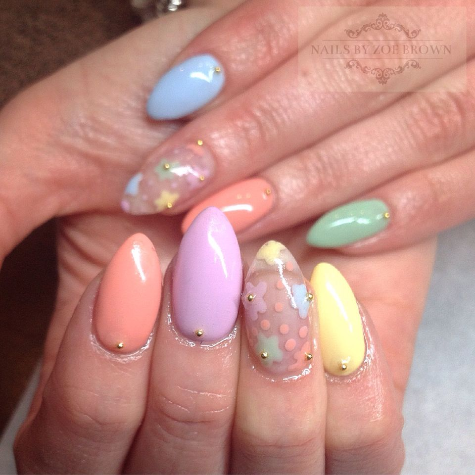 Pastel And Floral Spring Nail Design 2015 Cnd Shellac All Things