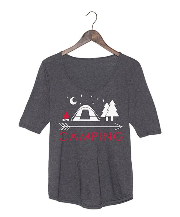 Look at this Heather Charcoal 'Camping' Arrow Scoop Neck Tee on #zulily today!