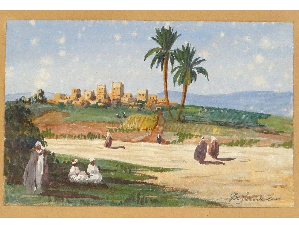 Aquarelle Orientaliste Paysage Maroc Marrakech Personnages De