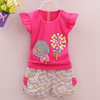 2pc Baby Girl Clothes Summer Tee Short Pants Kids Girls Casual ...