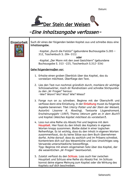 Inhaltsangabe Und Buchrezension Verfassen Unterrichtsmaterial Im Fach Deutsch Inhaltsangabe Bucher Buchrezension Schreiben