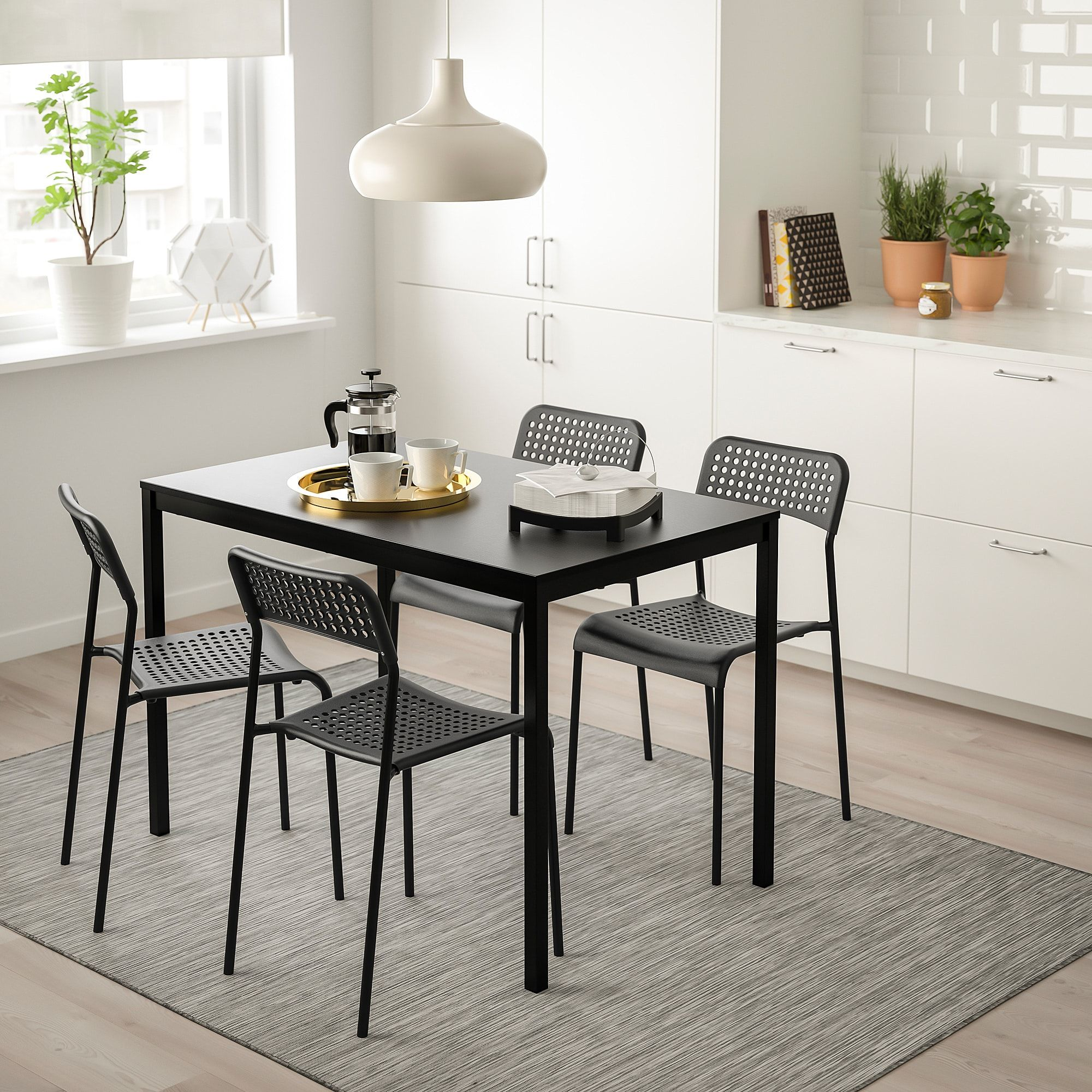 Ikea Tarendo Adde Black Table And 4 Chairs Ikea Table Chair