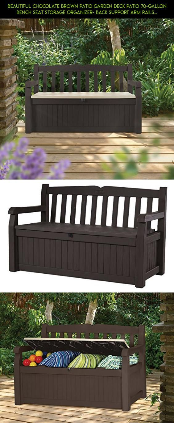 Beautiful Chocolate Brown Patio Garden Deck Patio 70 Gallon Bench Seat  Storage Organizer  Back