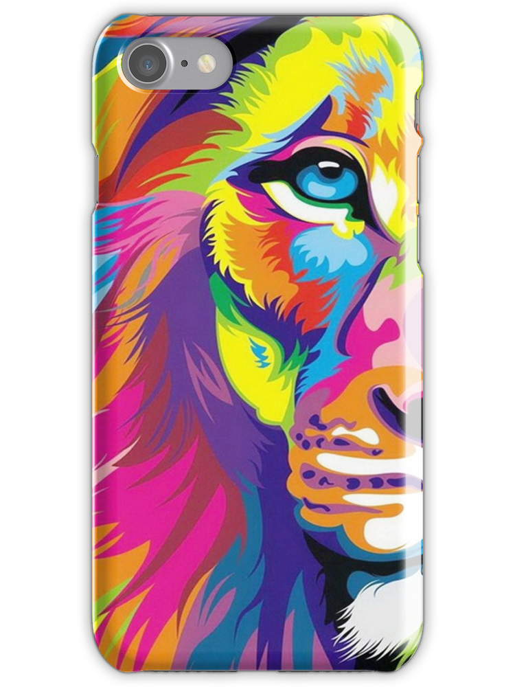Multicolored Lion Iphone 7 Snap Case by maniacreations