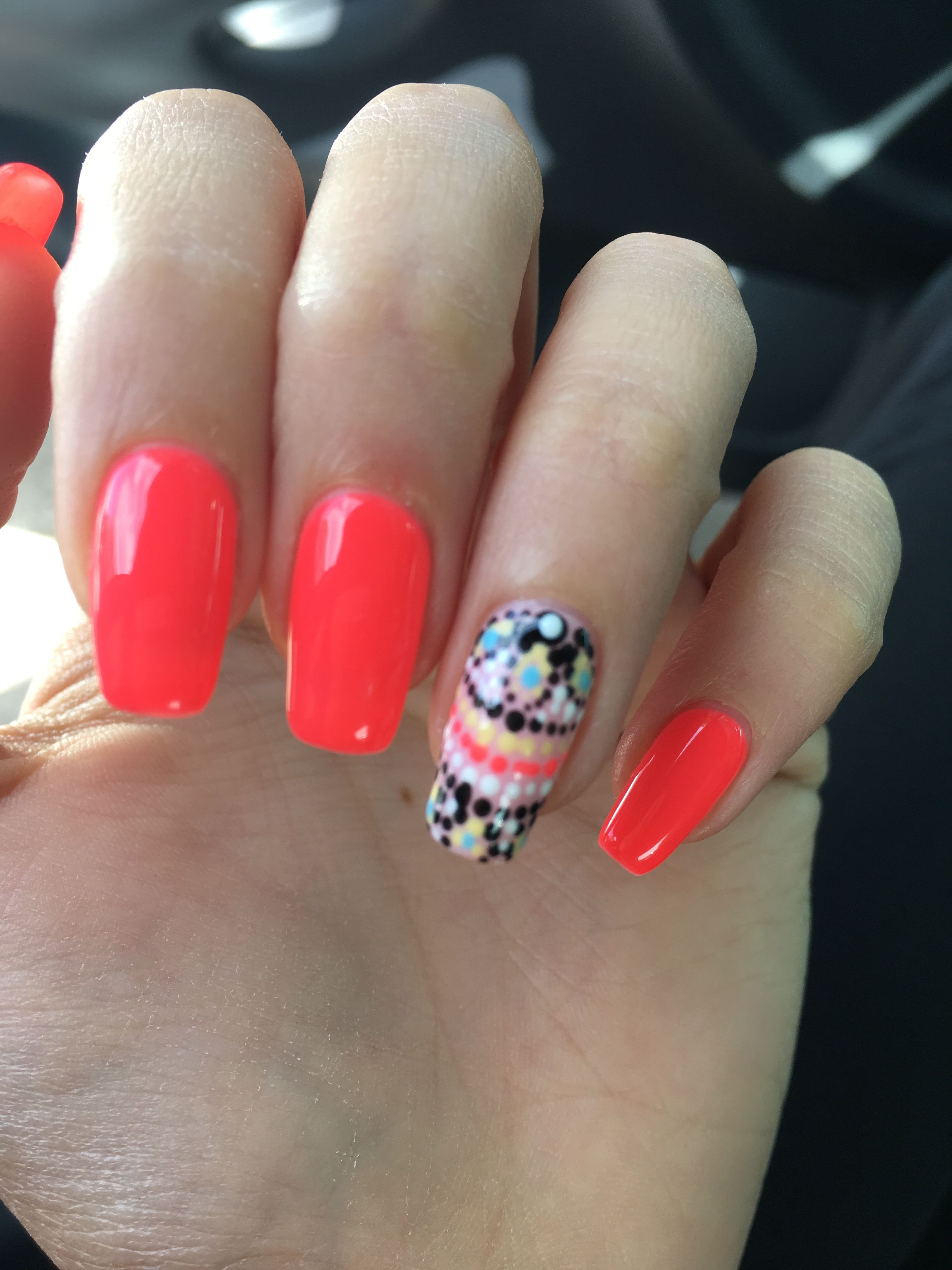Summer nail design. Square round nails | Nail art | Pinterest ...