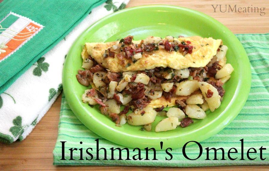Irishman's Omelet - YUM eating. Taking a break from all the Irish dinners and sharing the Irishman's breakfast instead.