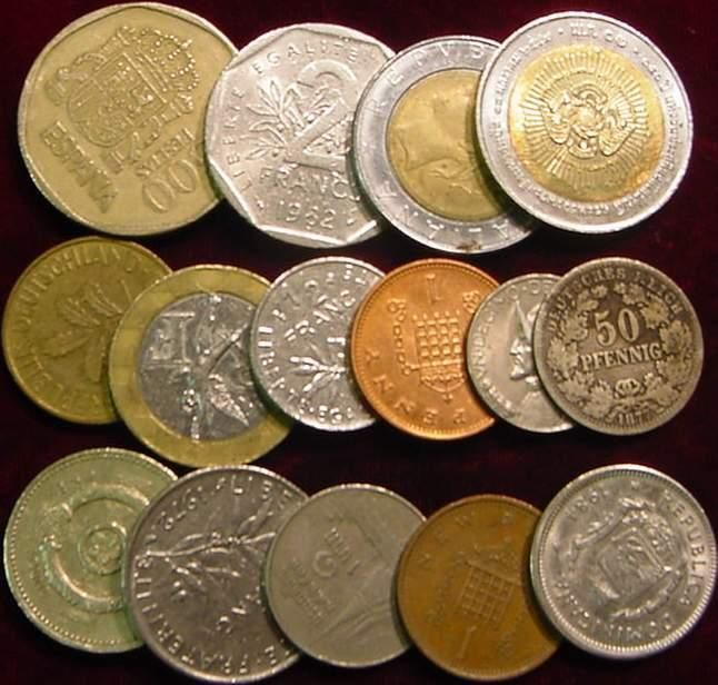 15 Foreign Coins English Pound Spain