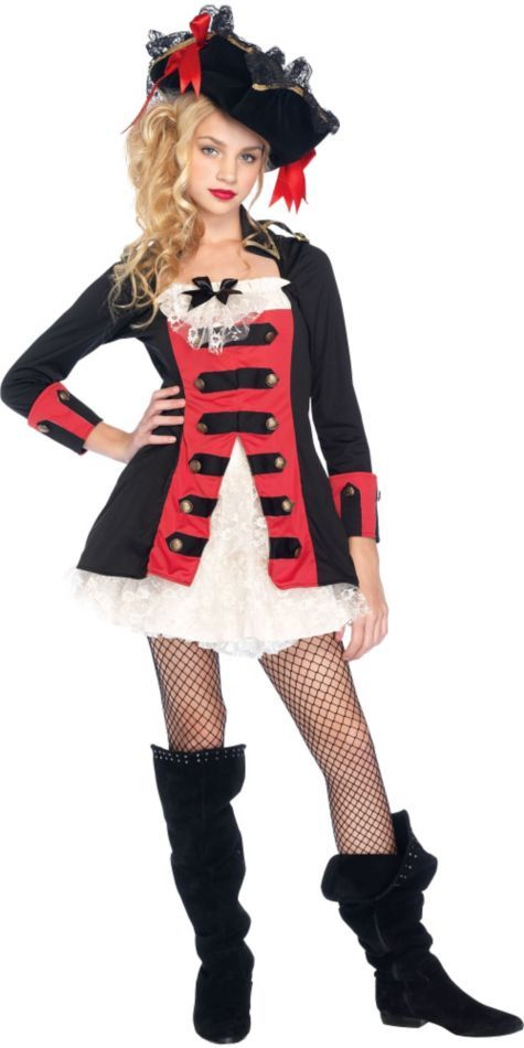 Teen Girls Pretty Pirate Captain Costume - Party City ...