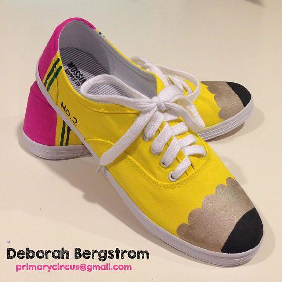 7576a429522af Hand-Painted Pencil Shoes | diy clothes | Teacher shoes, Pencil ...