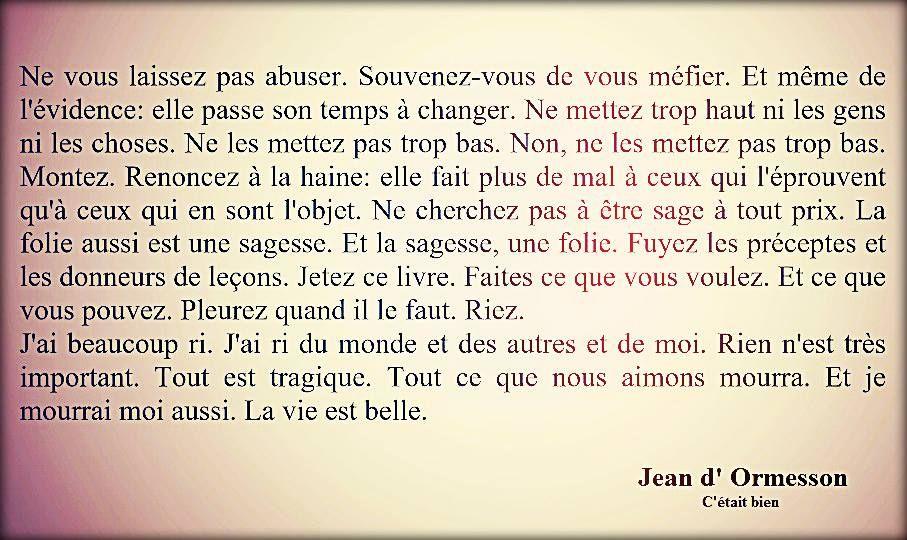Citation Jean Dormesson Cetait Bien