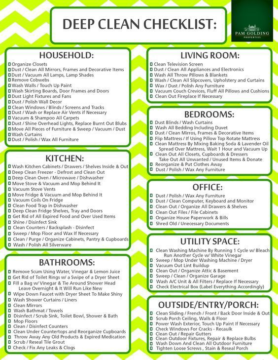 Deep Clean Checklist Cleaning schedule for working moms   Adulting ...