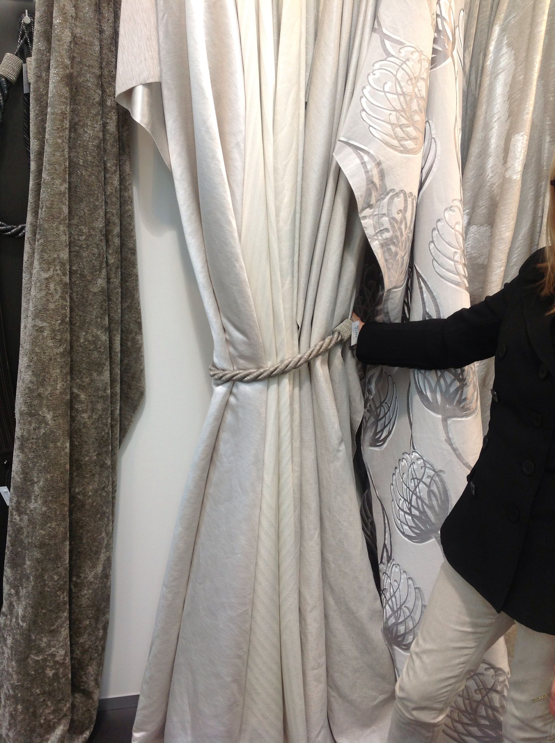 Shopping curtain fabrics with a client. ScX