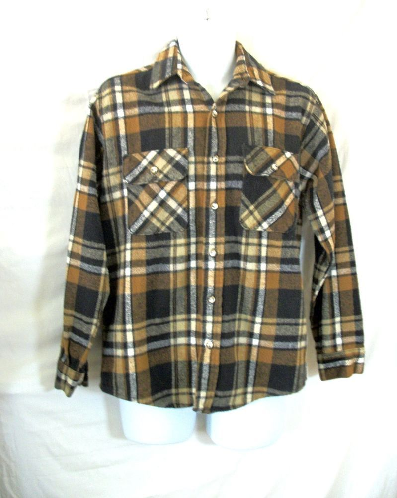 Flannel shirt black  Five Brother Button Front Plaid Cotton Flannel Shirt Brown Black