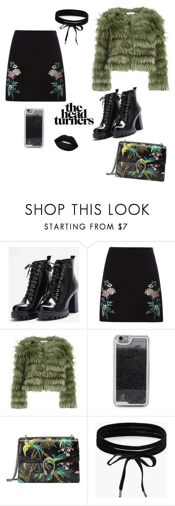 """Chocked leather"" by averypear11 ❤ liked on Polyvore featuring Dorothy Perkins, Alice + Olivia, LMNT, Gucci, Boohoo and Lime Crime"