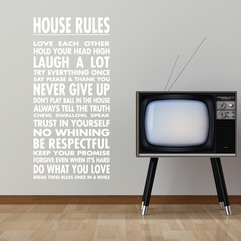 Wall Decals Quotes Tweet House Rules Wall Sticker Quote Wall - House rules wall decals