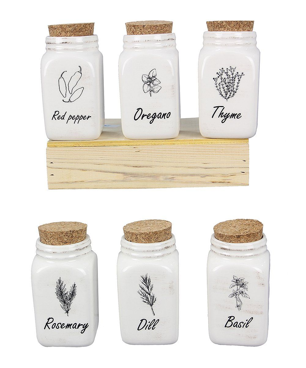 White Mason Jar Spice Holder & Tray Set Zulily in 2020