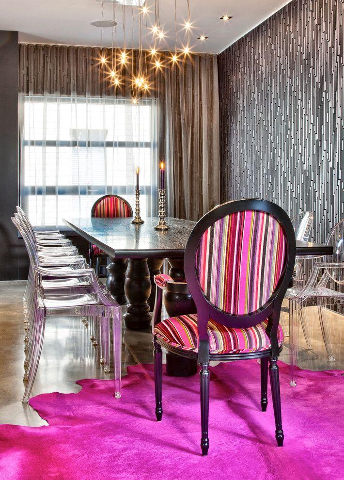 montreal acrylic dining chair chandelier concrete floor gray patterned wallpaper maison maison de ville maison moderne pink animal hide rug pink ru - Maison Moderne Ville