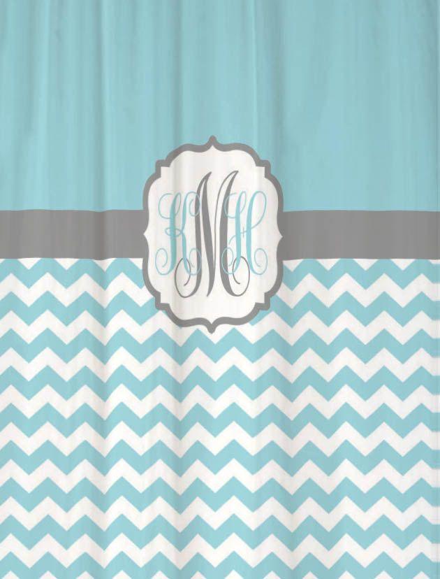 Extra Long Shower Curtain Light Blue Half Chevron With