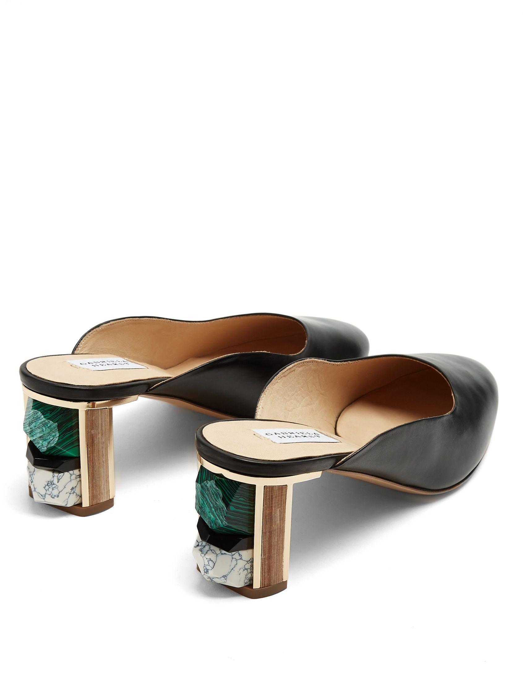 GABRIELA HEARST Lange stone-embellished leather mules Cheap Sale Manchester Discount Footlocker Finishline hLxP5