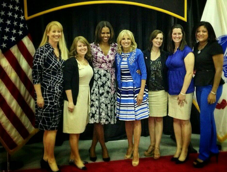 First lady Michelle Obama and Dr Jill Biden