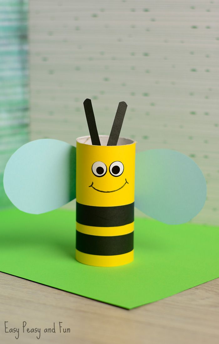 Toilet paper roll bee craft for kids bee crafts toilet for Paper roll projects