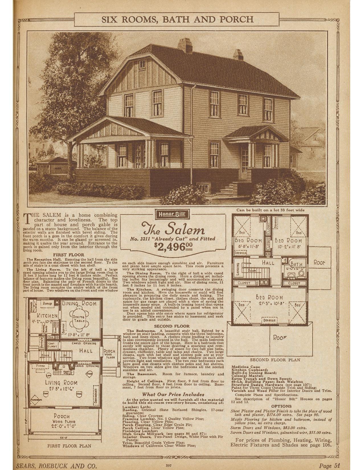 Sears Salem 1924 1925 3211 1926 P3211 1927 2of2 Salem S Kit Homes House Plans Old Houses