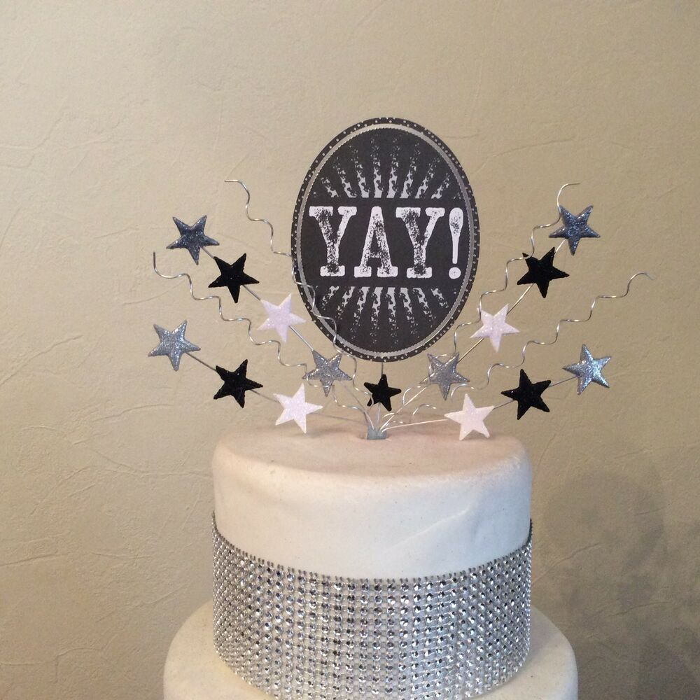 Yay Congratulations Cake Topper Silver Black Well Done Ebay Congratulations Cake Cake Toppers Cake