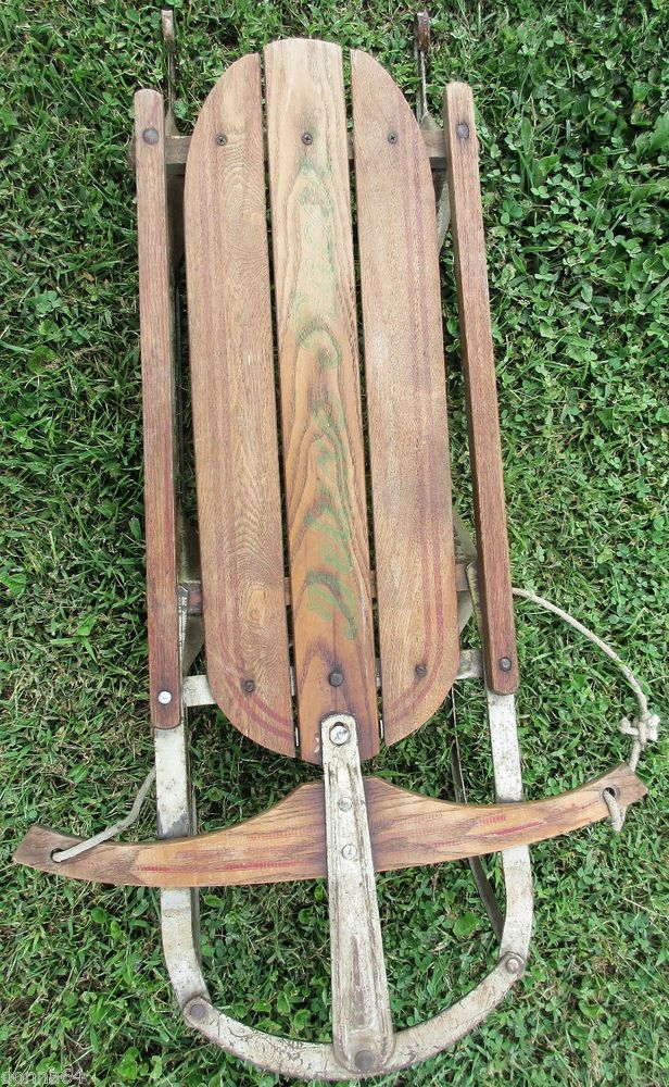 Vintage Deluxe Racer Sled - wooden children's sled with metal blades.  Great primitive or winter display piece.  Wood is probably oak.