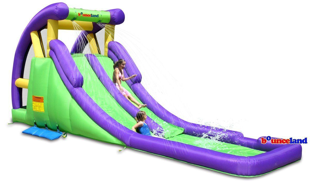 double water slide inflatable pool park kids backyard bounce house