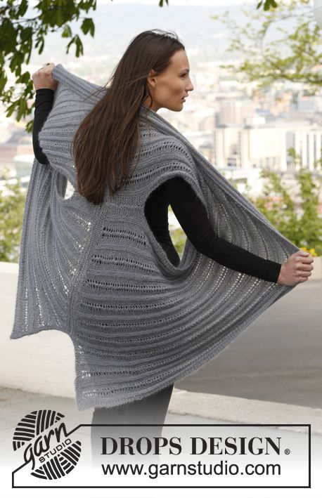 "Knitted DROPS jacket in ""BabyAlpaca Silk"" and ""Kid-Silk"". Size: S - XXXL. ~ DROPS Design"