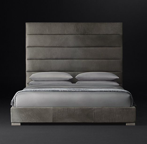 Modena Panel Horizontal Channel Leather Platform Bed Chambre A