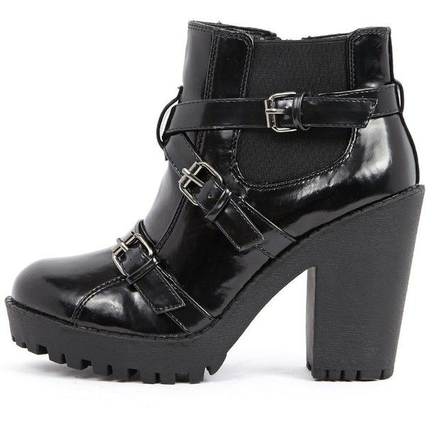 Stacie Patent Chunky Strap Buckle Boots ($13) ❤ liked on Polyvore featuring shoes, boots, ankle booties, black, ankle boots, black boots, chunky-heel ankle boots, black patent leather boots and black high heel booties