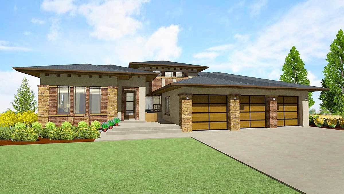 Plan 64421sc Modern Prairie House Plan For A Rear Sloping Lot Prairie Style Houses Modern House Plans Prairie House