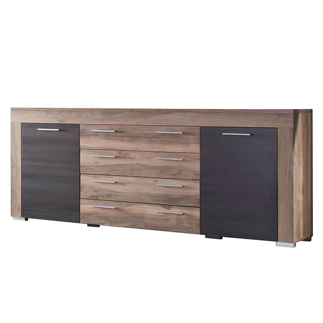 Sideboard Bang - Nussbaum-Satin/Dunkelbraun-Touchwood Dekor ...
