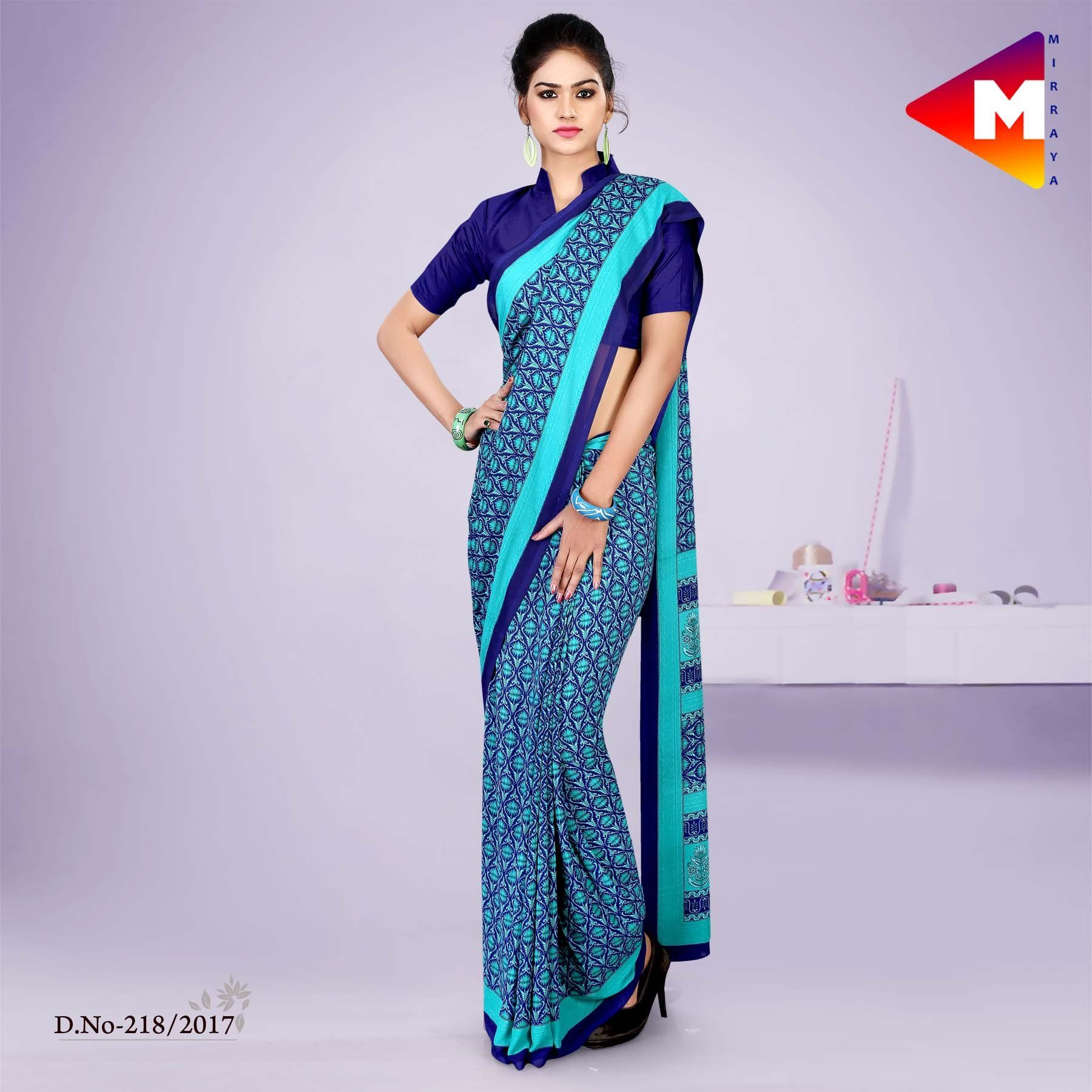 Blue georgette uniform saree appropriate as uniform sarees for blue georgette uniform saree appropriate as uniform sarees for hotel uniform sarees for office thecheapjerseys Gallery