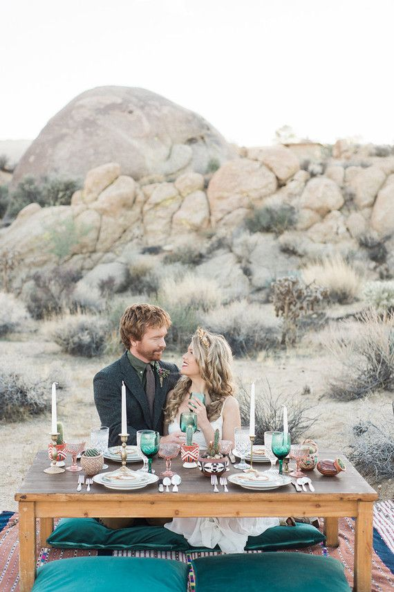 Photo of Bohemian winter desert wedding inspiration