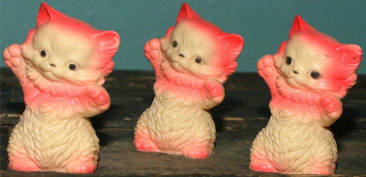 Kittens Sun Rubber 1957 Atomic Kitten Vintage Cat Christmas Cats