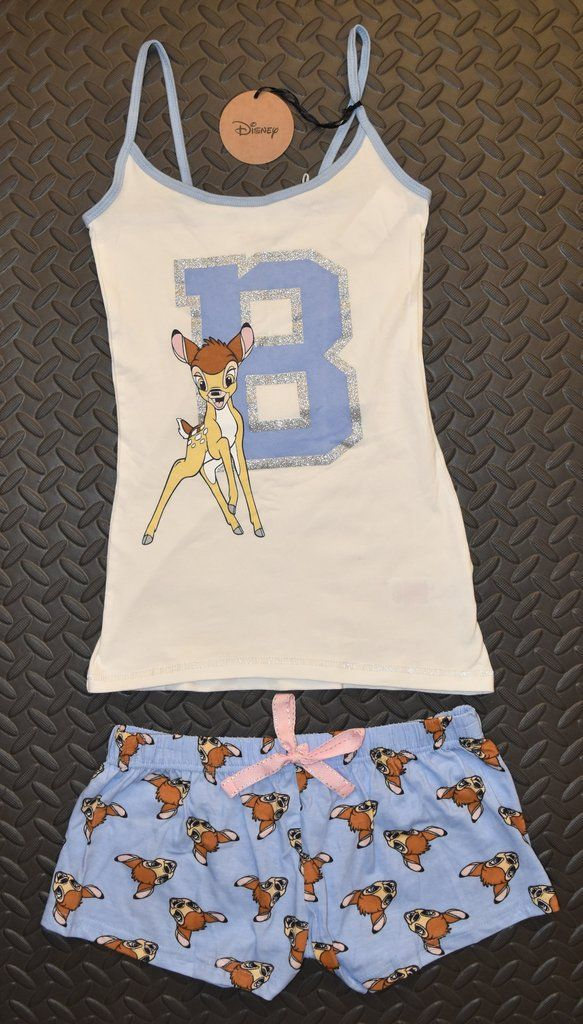 3d990f9176 PRIMARK Disney BAMBI Vest   Shorts Set PJ PYJAMAS Glitter Blue Sizes 4 - 20  NEW