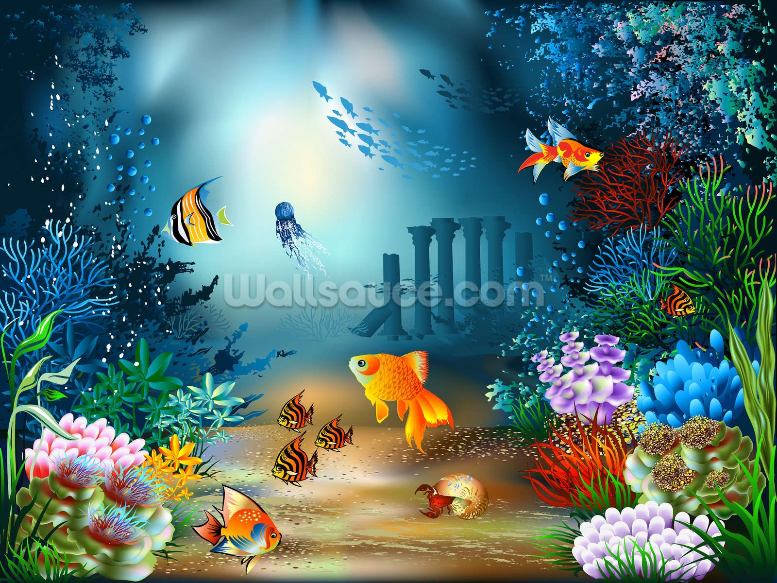 Underwater World Wall Mural Wallsauce Us Underwater Wallpaper Underwater World Christmas Photography Backdrops