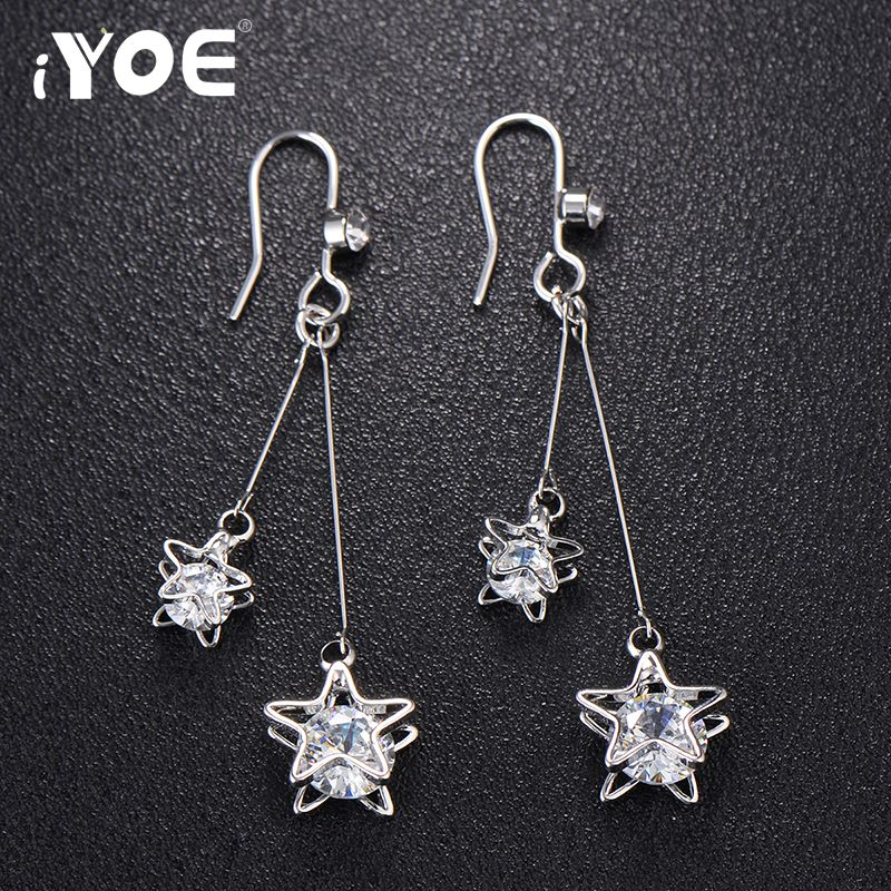 Zircon Stud Earrings Double Star Shape Stud Earrings For Women Fashion Gifts