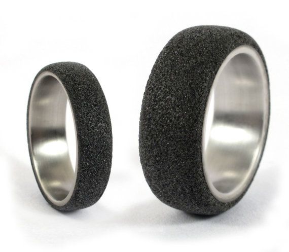 wedding fiber grey rings set bands with carbon graphite of two