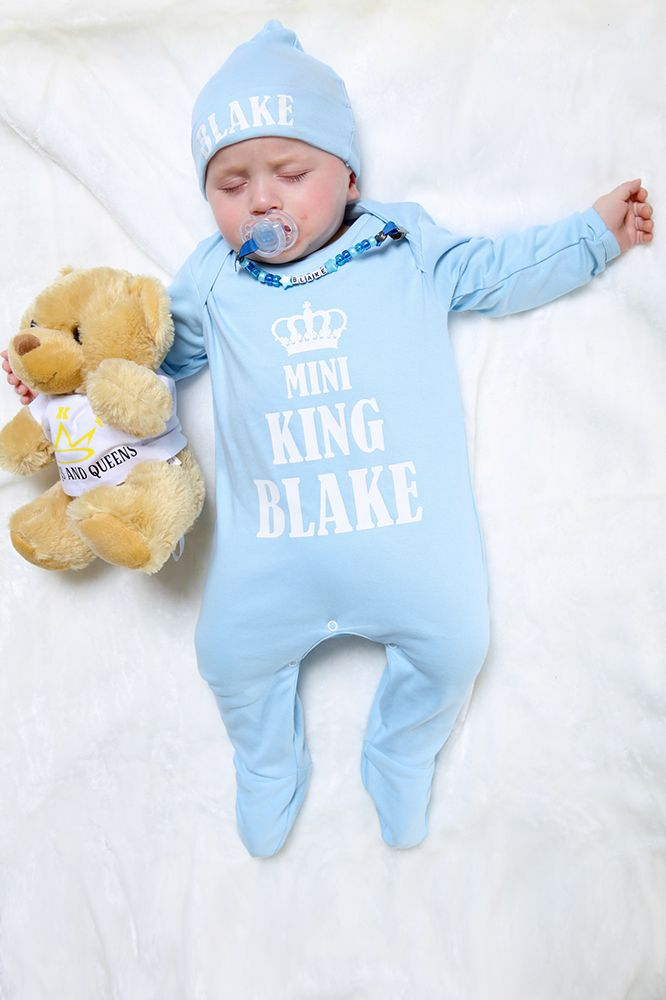 004cf8667c62d Your newborn King will look the part wrapped up in this beautifully soft,  personalised baby grow and hat with crown image. Made with love, our 100%  cotton ...