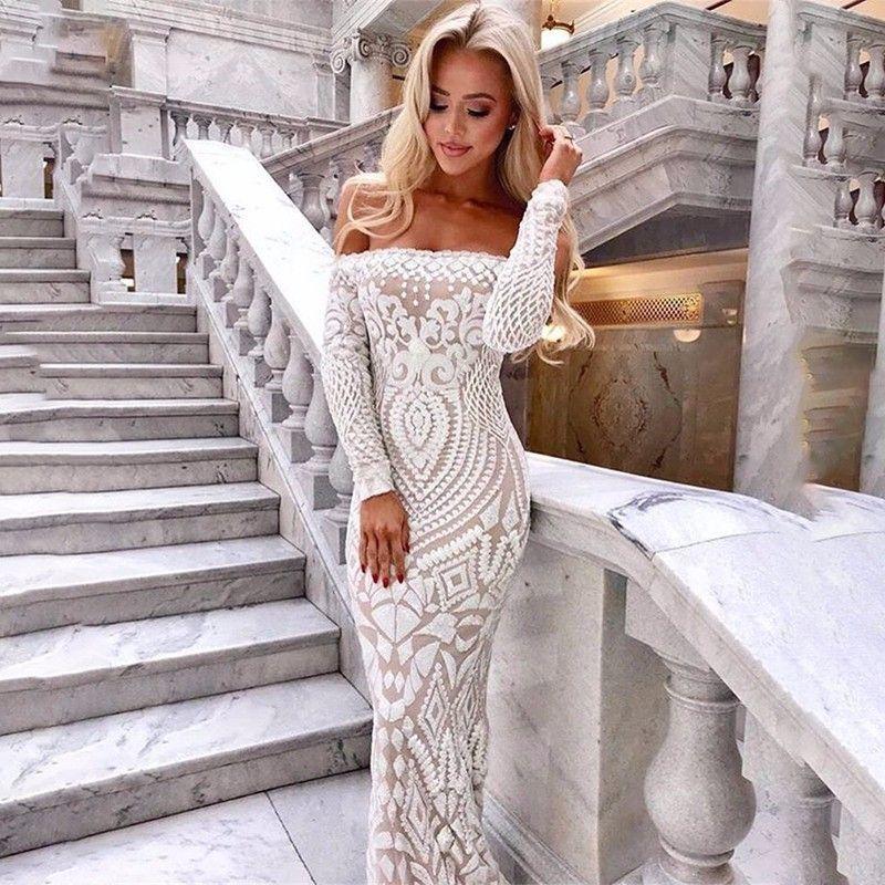 44acce96ea96 Ohvera Mesh Black White Lace Dress Women Sexy Off Shoulder Sequin Summer  Dress Elegant Bodycon Maxi Long Dresses Party Vestidos