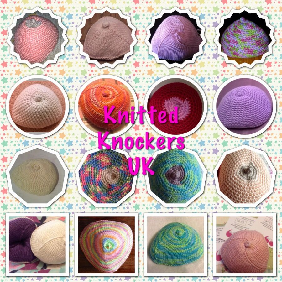 Hand made knitted breast prosthetic, made by Knitted Knockers UK volunteers. Go to http://knittedknockersuk.wix.com/knitted-knockers-uk. For details of how to obtain your free knitted knockers.