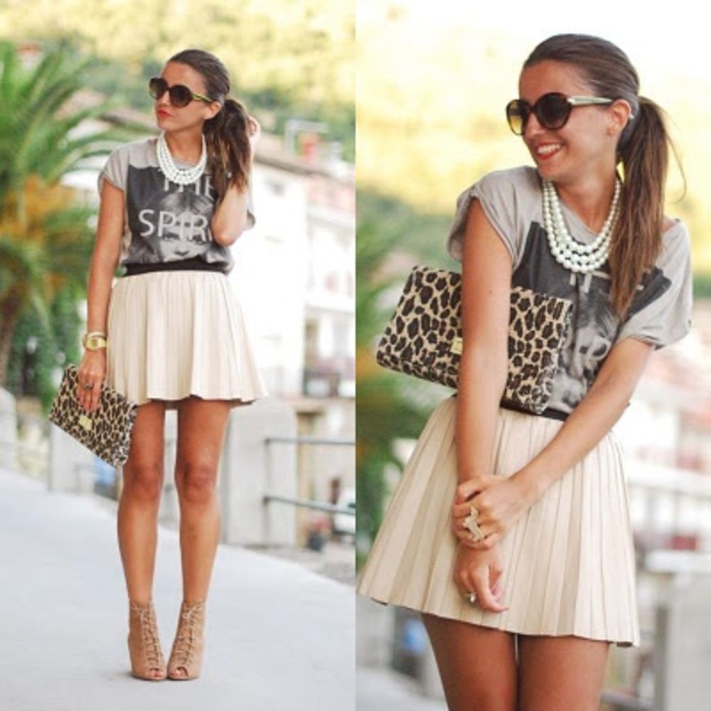 Oversized Shirt + Skater Skirt + Cheetah Accent + Nude Pumps + Pearls = Punky Feminine